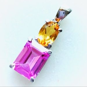6.98g Silver Natural Pink Topaz Pendant